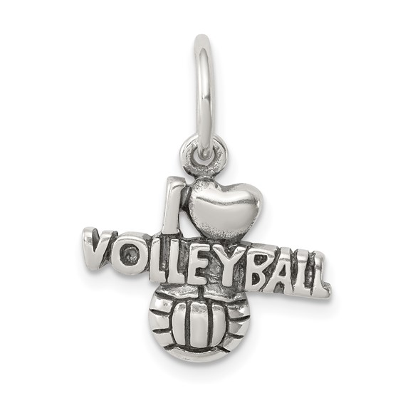 Sterling Silver Antique I (heart) Volleyball Charm