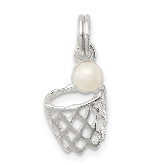 Sterling Silver Synthetic Pearl Basketball in Hoop Charm
