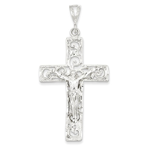 Sterling Silver 2in Jumbo Cut-out Crucifix Pendant