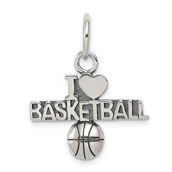 Sterling Silver I Love Basketball Charm