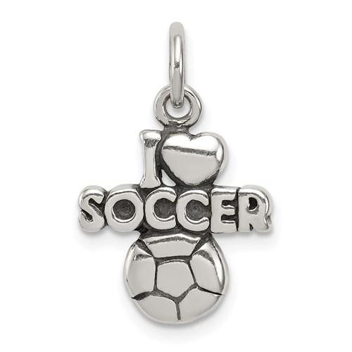 Sterling Silver I Love Soccer Charm