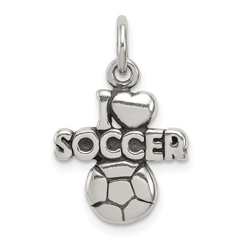 Sterling Silver I Love Soccer Charm