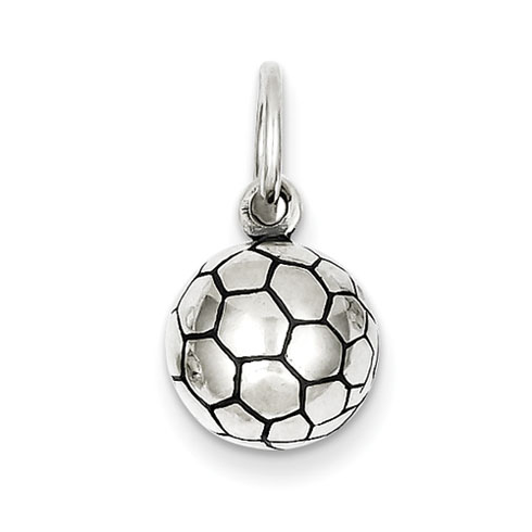 Sterling Silver 3/8in 3-D Antique Soccer Ball Charm