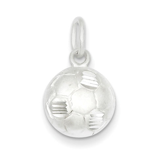 Sterling Silver Diamond Cut Soccer Ball Charm