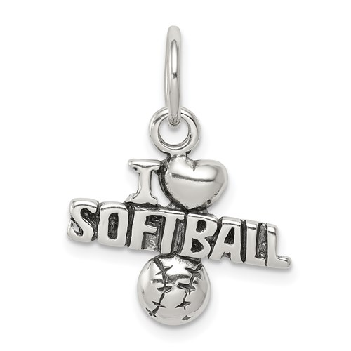 Sterling Silver Antiqued I Love Softball Charm