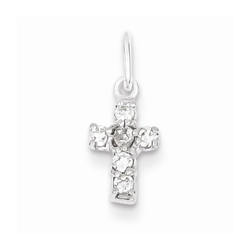 Sterling Silver 3/8in CZ Cross Charm with Flat Back