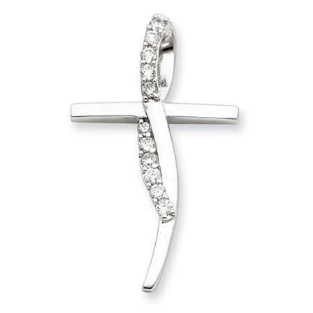 Sterling Silver 1 1/4in Cubic Zirconia Twist Cross