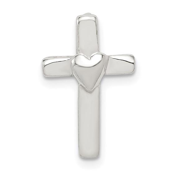 Sterling Silver 5/8in Cross Heart Pendant with Hidden Bail