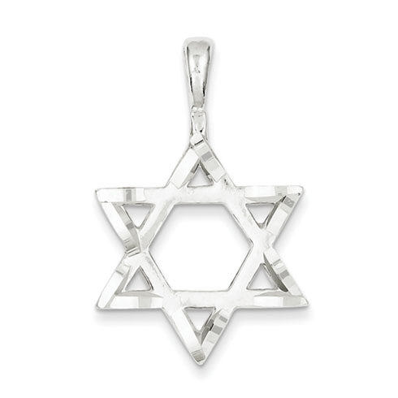 Sterling Silver 1in Diamond-cut Star Of David Pendant