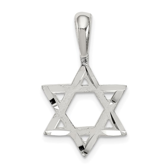 Sterling Silver 5/8in Diamond-cut Star Of David Pendant