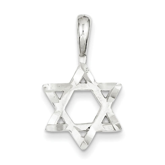 Sterling Silver 5/8in Diamond-cut Star Of David Pendant