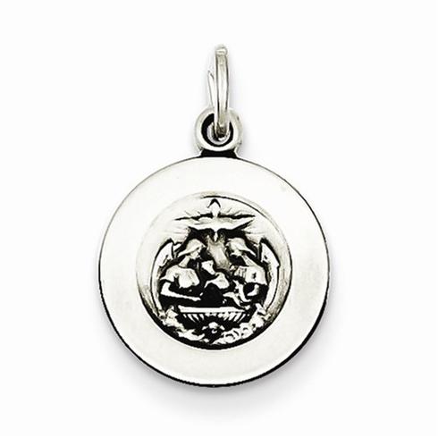 Sterling Silver 1/2in Antiqued Baptismal Medal