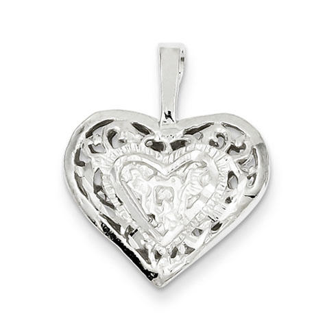 Sterling Silver 5/8in Filigree Heart Charm