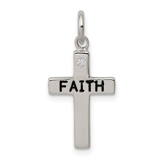 Sterling Silver 5/8in FAITH Cross Charm with Cubic Zirconia Accent