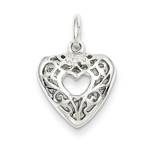 7/16in Filigree Heart Charm - Sterling Silver