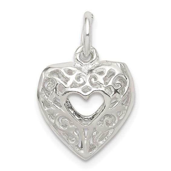 7/16in Filigree Heart Charm - Sterling Silver