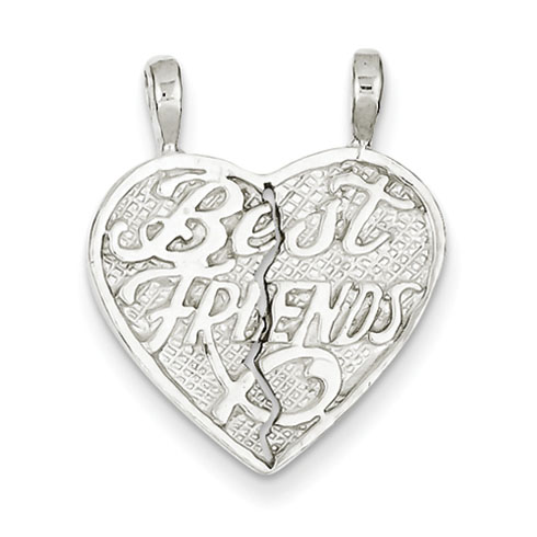 Sterling Silver Best Friends 2-piece break apart Heart Charm 5/8in