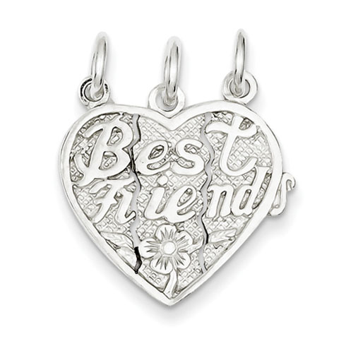 Sterling Silver Best Friends 3-piece break apart Heart Charm