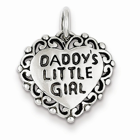 Sterling Silver 5/8in Antiqued Daddy's Little Girl Heart Charm