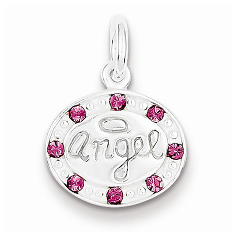 Sterling Silver Oval Angel Pendant with with Pink Stellux Crystals
