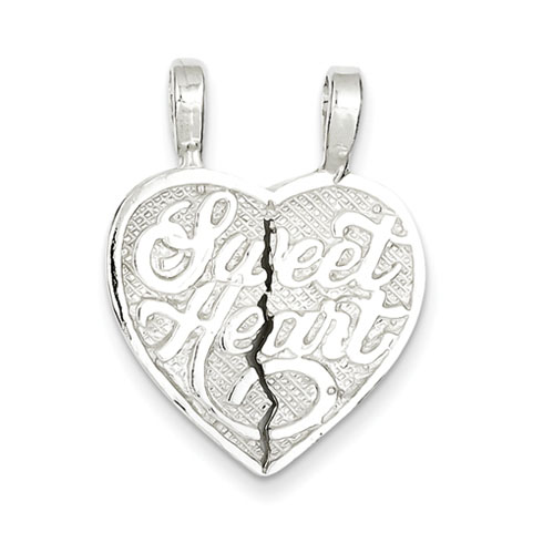 Sterling Silver Sweet Heart Two-piece Break Apart Charm
