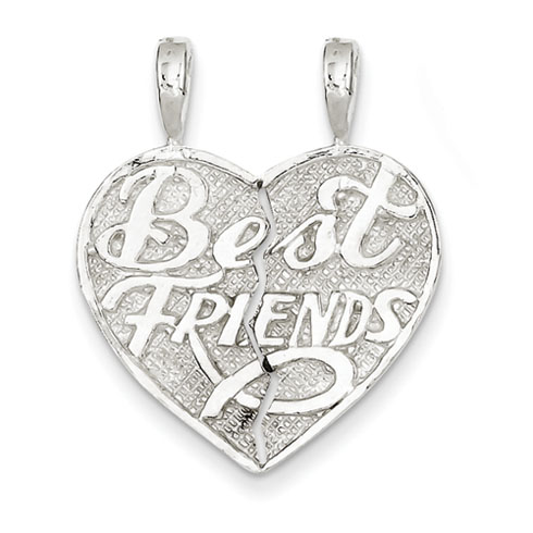 Sterling Silver Best Friend 2-piece break apart Heart Charm