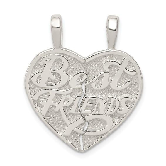 Sterling Silver Best Friends 2-piece break apart Heart Pendant