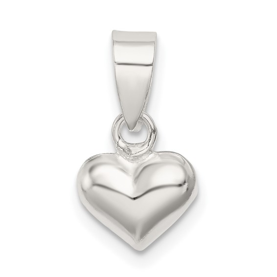 Sterling Silver 1/4in Puff Heart Charm
