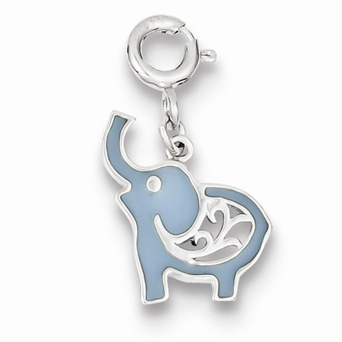 Sterling Silver Blue Enameled Elephant Charm
