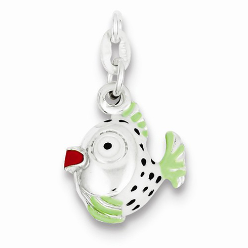 Sterling Silver Green and Red Enameled Fish Charm