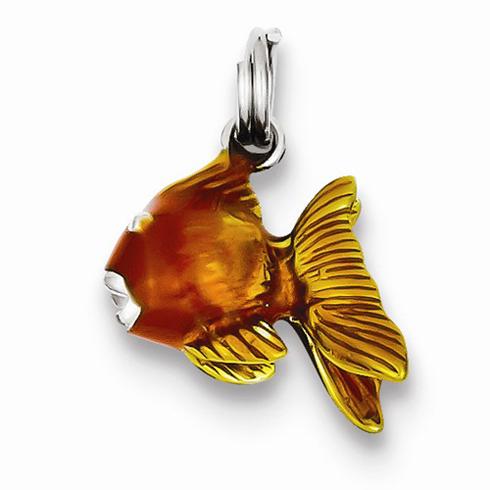 Sterling Silver 1/2in Enamel Goldfish Charm