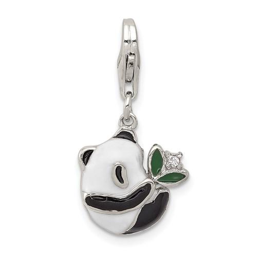 Sterling Silver CZ Enamel Panda Charm