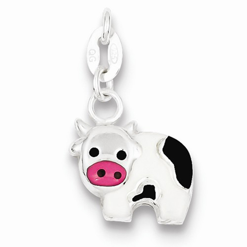 Sterling Silver Black and Pink Enameled Cow Charm