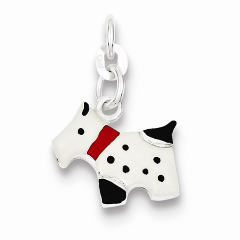 Sterling Silver Enameled Scottie Dog Charm