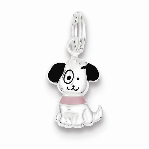 Sterling Silver 5/8in Enameled Puppy Charm