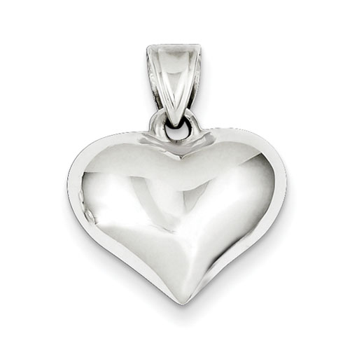 9/16in Puffed Heart Charm - Sterling Silver