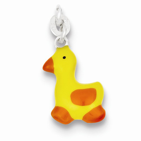 Sterling Silver Yellow and Orange Enameled Duck Charm