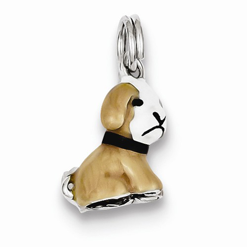 Sterling Silver Brown and White Enamel Dog Charm