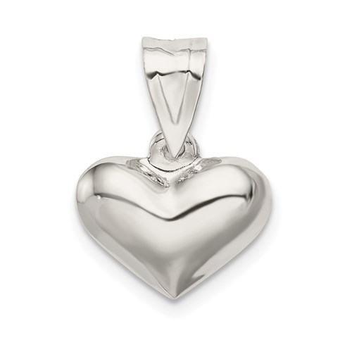 Sterling Silver 1/4in Polished Puffed Heart Charm