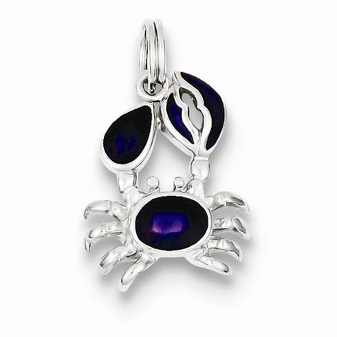 Sterling Silver Purple Enameled Crab Charm