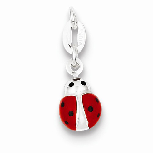 Sterling Silver Ladybug Charm with Enamel