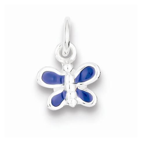 Sterling Silver 1/4in Blue Enameled Butterfly Charm