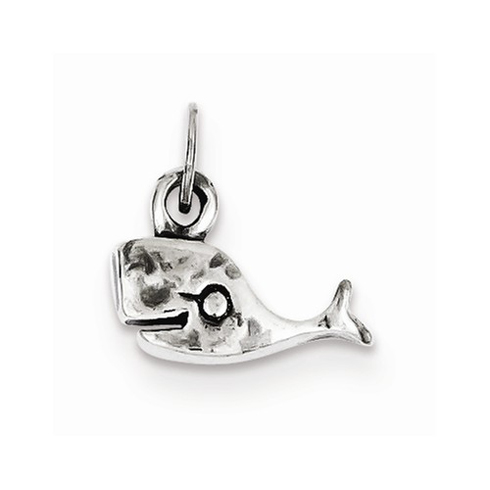 Sterling Silver Antiqued Sperm Whale Charm
