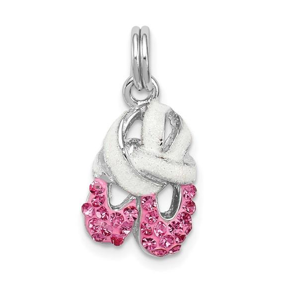 Sterling Silver Pink CZ Enamel Ballet Slipper Charm