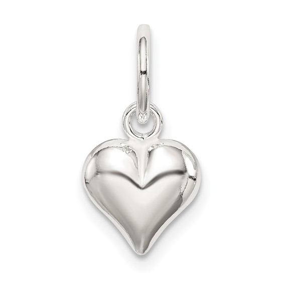Sterling Silver 3/8in Puff Heart Charm