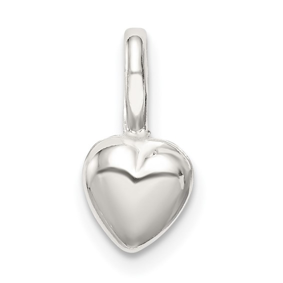 Sterling Silver 1/4in Puffed Heart Charm