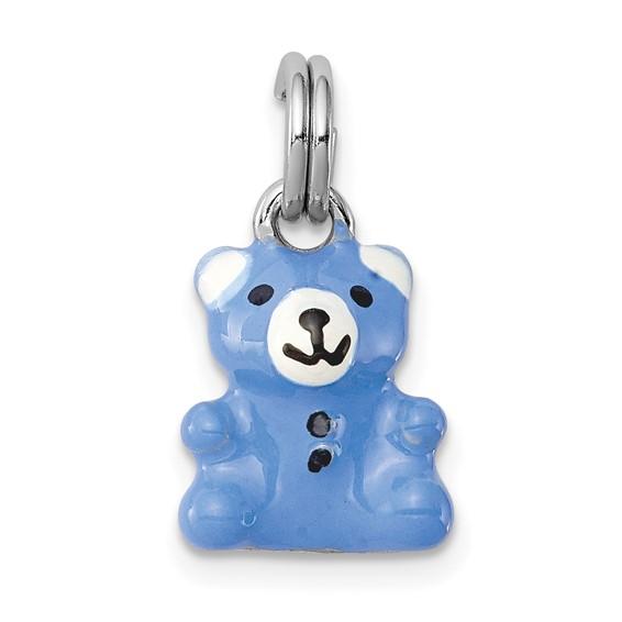 Sterling Silver Blue and White Enamel Teddy Bear Charm