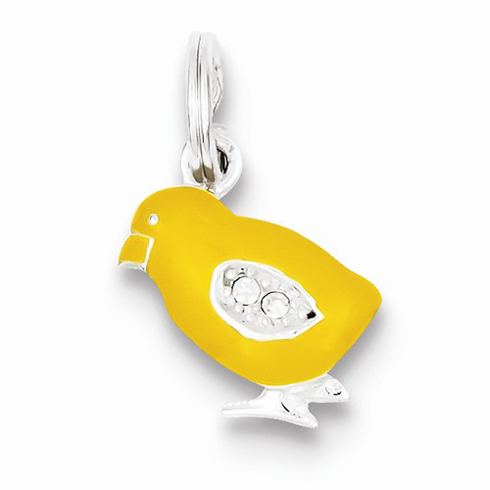 Sterling Silver Preciosa Crystal Enameled Yellow Baby Chick Charm