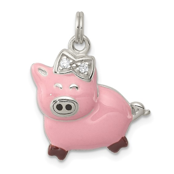 Sterling Silver CZ Pink Enameled Pig Charm