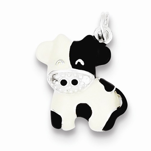 Sterling Silver CZ Brown & White Enameled Cow Charm